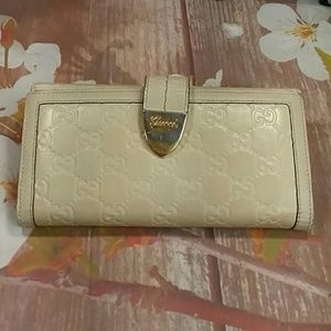 Authentic Gucci GG Monogram Beige Leather Wallet